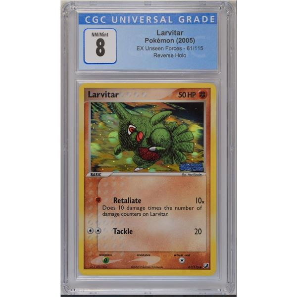 POKEMON 2005 larvitar 61/115 unseen forces reverse holo NM/M 8 CGC
