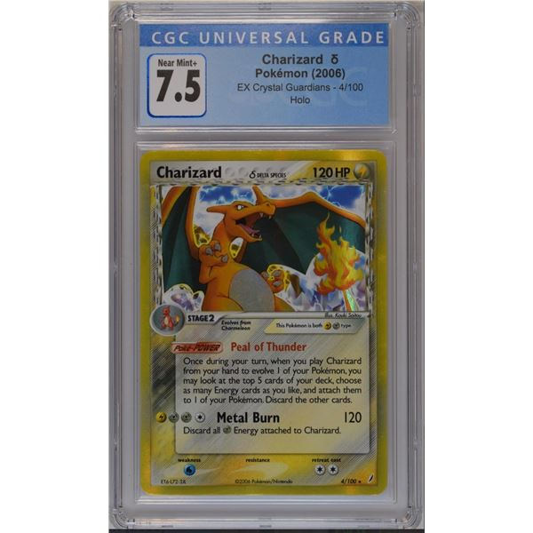 POKEMON 2006 Charizard Crystal guardians holo NM+ 7.5 CGC