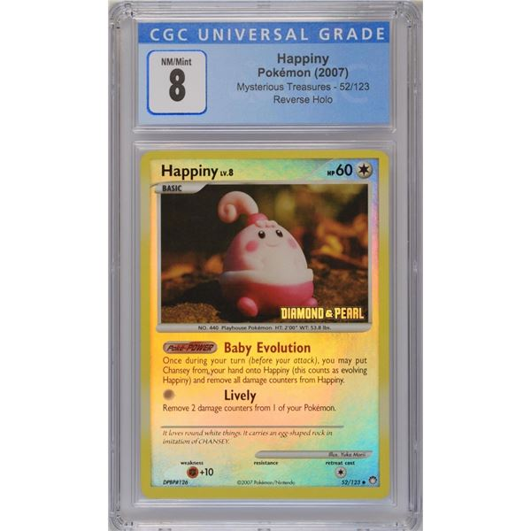 POKEMON 2007 Happiny Mysterious Treasures DIAMOND AND PEARL reverse holo  NM/M 8 CGC