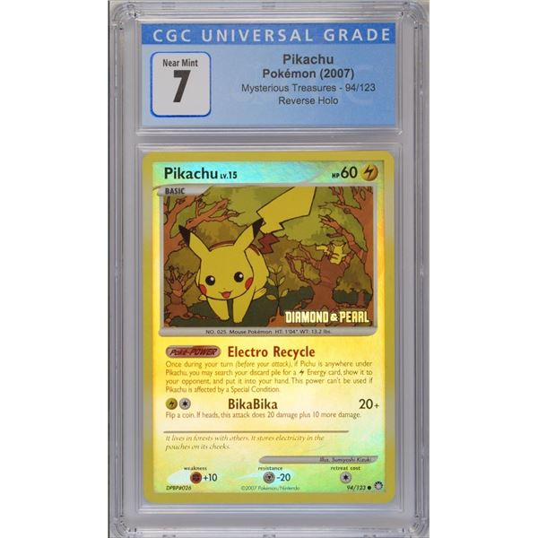 POKEMON 2007 Pikachu DIAMOND AND PEARL reverse holo NM 7 CGC