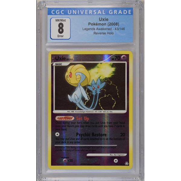 POKEMON ERROR: INSUFFICIENT INK  2008 Uxie Legends reverse holo NM/M 8 CGC