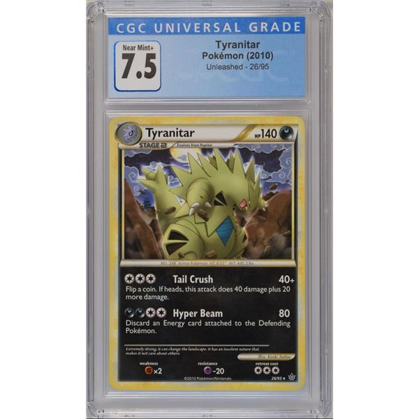 POKEMON 2010 Tyranitar Unleashed NM+ 7.5 CGC