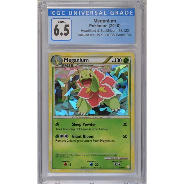 POKEMON 2010 Meganium cracked ice holo EX/NM+ 6.5 CGC