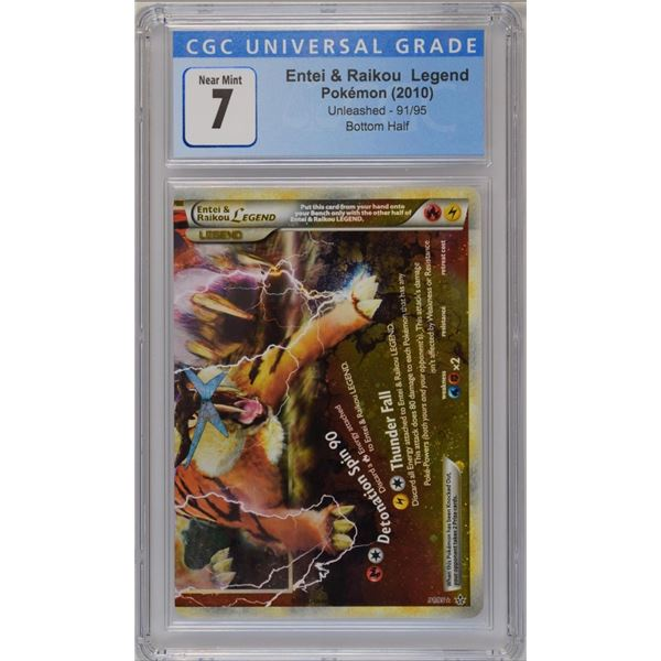 POKEMON 2010 Entei & Raikou legend- bottom half holo NM 7 CGC