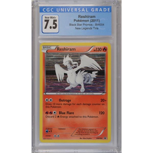 POKEMON 2011 Reshiram Black star promo NM+ 7.5 CGC