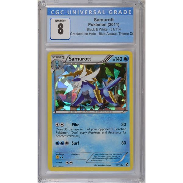 POKEMON 2011 Samurott cracked ice holo NM/M 8 CGC