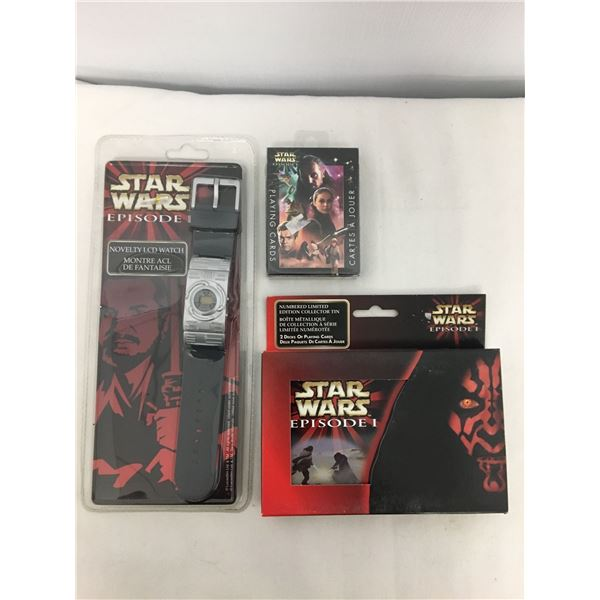 Star Wars bundle watch, cards, cards in tin
