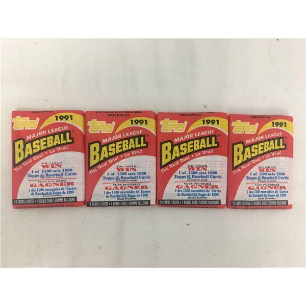 Sealed 4 packs 1991 topps baseball
