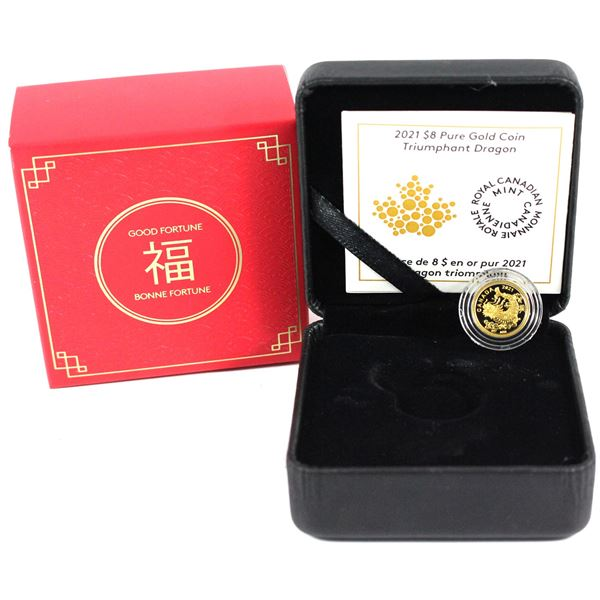 2021 Canada $8 Triumphant Dragon 1/20th oz Fine Gold Coin.Limited Mintage 8,888! (TAX Exempt)