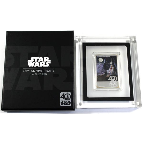 2017 Niue $2 Star Wars: A New Hope 40th Anniversary 1oz Fine Silver Poster Bar. (TAX Exempt)