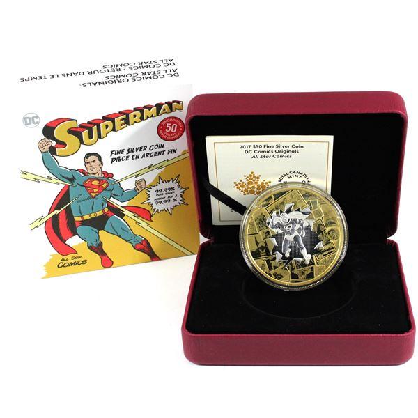 2017 Canada $50 DC Comics Originals - All Star Comics 3oz Gold Plated Fine Silver Coin. (TAX Exempt)