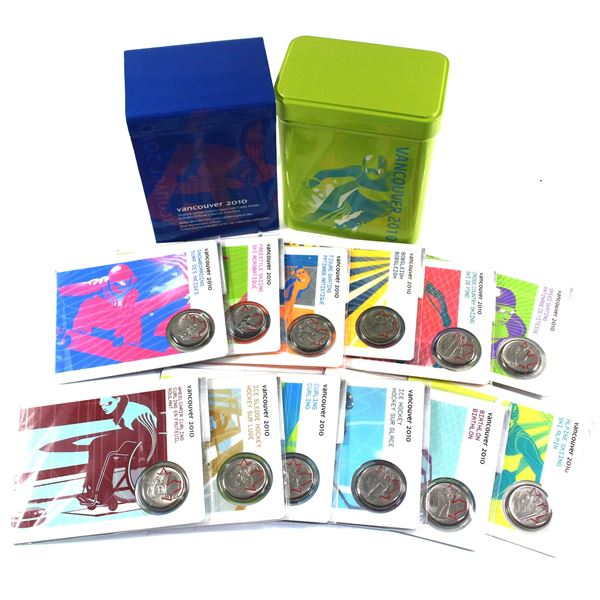 Complete 2010 Vancouver Olympics Sports Card 12-coin 25-cent Set in Green Collector's Tin Holder wit