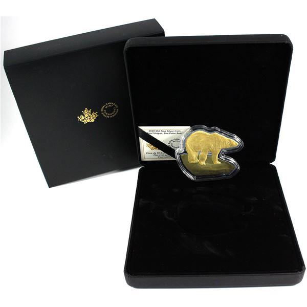 2020 Canada $50 Real Shapes - The Polar Bear Gold Plated Fine Silver Coin (100 grams 3.215oz, Limite
