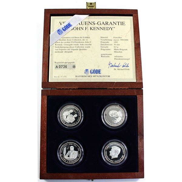 1992 (No Date) Bavarian Mint 4-coin John F. Kennedy Commemorative Fine Silver Set in Deluxe Display