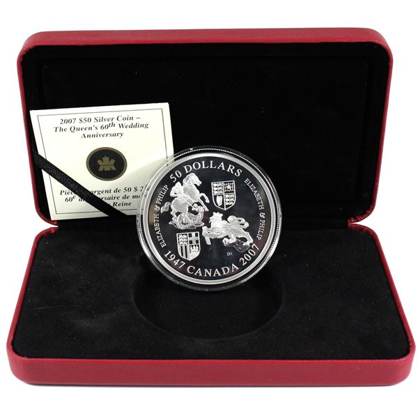 2007 Canada $50 Queen's 60th Wedding Anniversary 5oz Fine Silver Coin. TAX Exempt