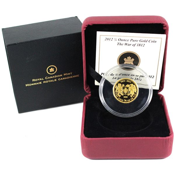2012 Canada $10 The War of 1812 1/4oz Fine Gold Coin. (TAX Exempt)
