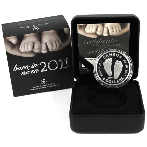 2011 Canada $4 Welcome to the World - Baby Feet Fine Silver Coin. Limited mintage of only 10,000! (T
