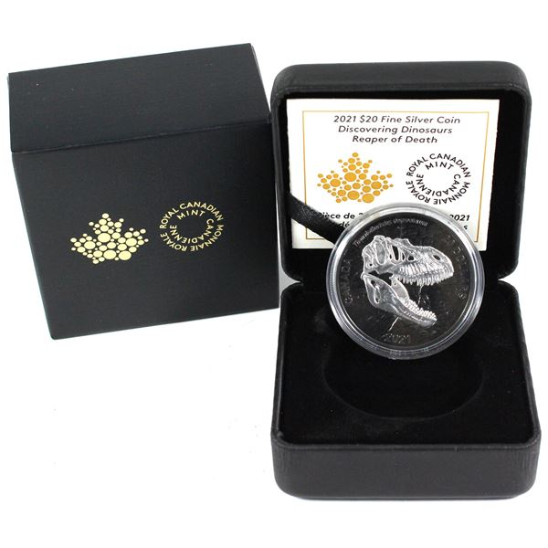 Sold Out At The Mint!!! 2021 Canada $20 Discovering Dinosaurs - Reaper of Death Rhodium Plated Fine