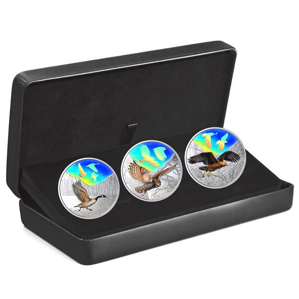 2019 Canada $30 Majestic Birds in Motion Fine Silver 3-coin Set (Missing outer sleeve & Canada Geese