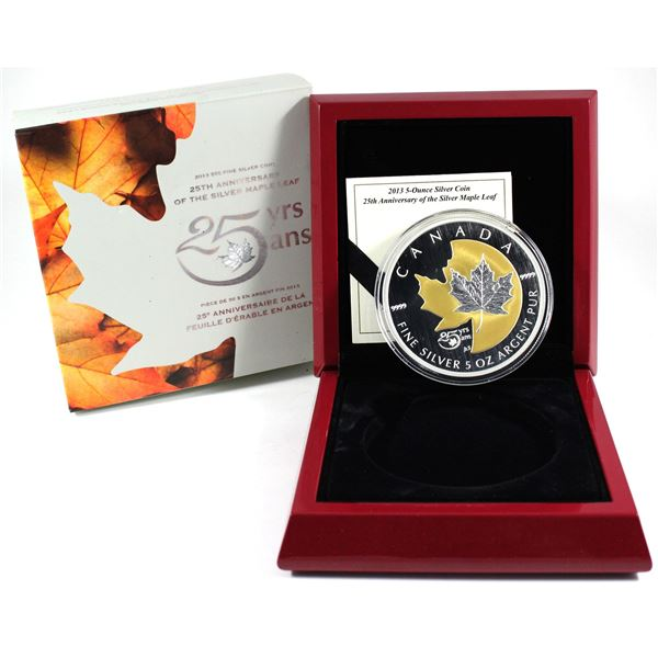 2013 Canada $50 25th Anniversary of the Silver Maple Leaf 5oz Fine Silver Coin with Gold Plating. (T