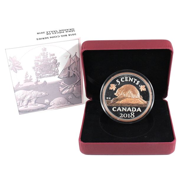 2018 Canada 5-cent Big Coin Rose-Gold Plated 5oz Fine Silver Coin (Missing COA). TAX Exempt