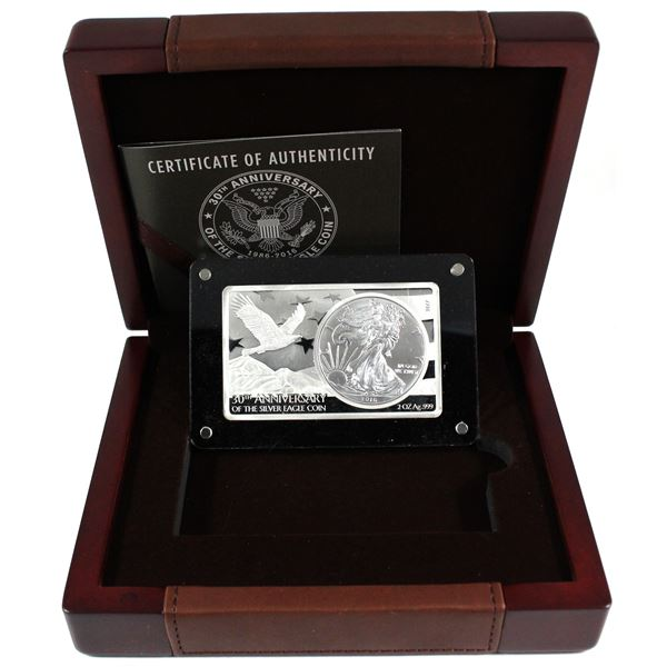 Most Famous Coin Bar Series - 1986-2016 USA 30th Anniversary of the Silver Eagle 1oz Coin Inside of