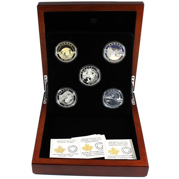 2014 O Canada $25 Complete 5-coin Fine Silver Set. (TAX Exempt)