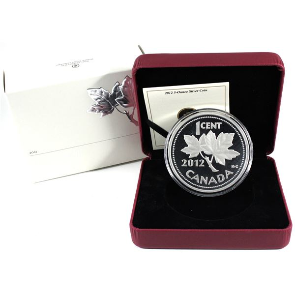 2012 Canada 1-cent Farewell to the Penny 5oz Fine Silver Coin. (TAX Exempt)