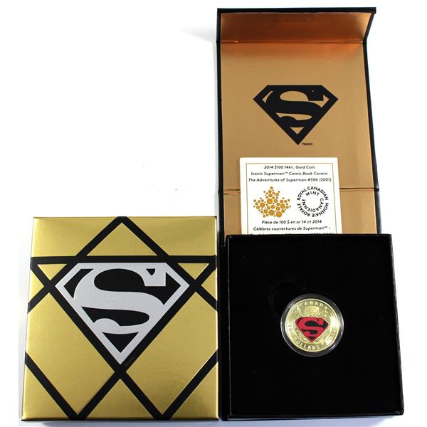2014 Canada $100 Iconic Superman - Adventures of Superman #596 14K Gold Coloured Coin. *SCARCE*