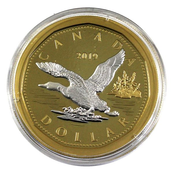 *2019 Canada $1 Big Coin Reverse Gold Plated 5oz Fine Silver Coin Encapsulated in Supplied Holding T
