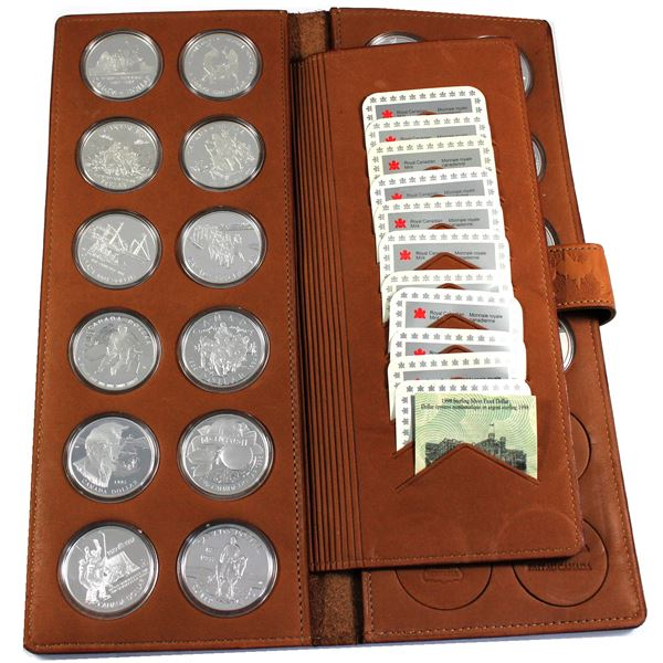 Estate Lot of 21x 1987-2010 Canada Proof Silver Dollars Encapsulated in Genuine Leather RCM Display