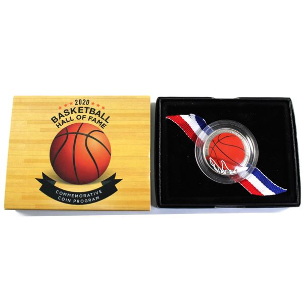 2020 USA Basketball Hall of Fame Proof Half Dollar Coloured and Curved Cupronickel Coin.