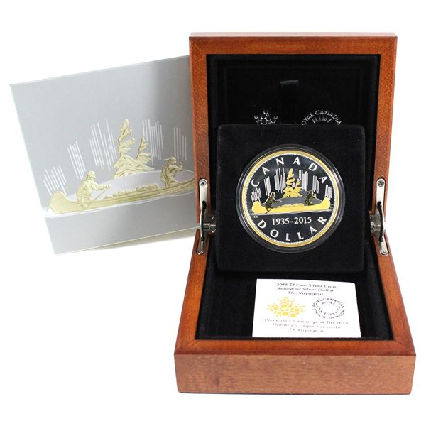 2015 Canada $1 The Voyageur Renewed Silver Dollar Masters Club 2oz Fine Silver Coin. TAX Exempt