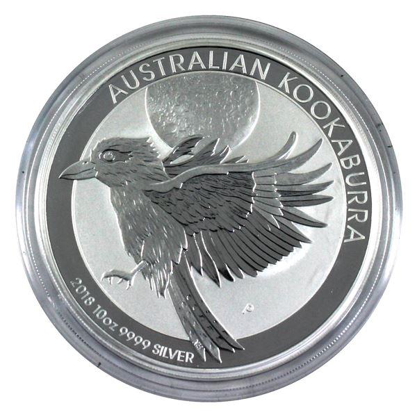 2018 Australia 10oz .9999 Fine Silver Kookaburra in Capsule. TAX Exempt
