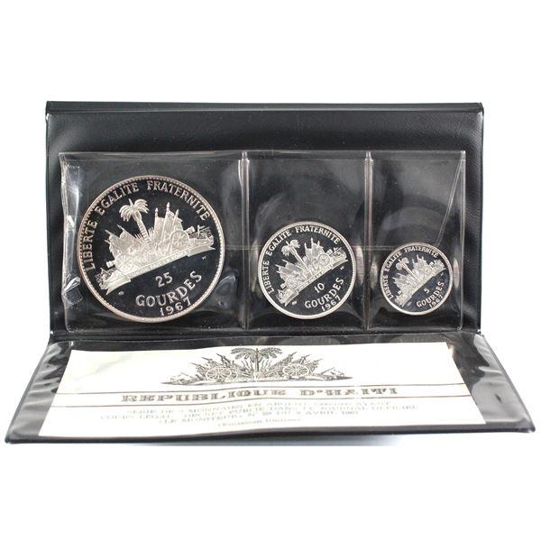 Scarce!!! 1967 Republique D 'Haiti 3-coin .999 Fine Silver Proof Coin Set in Original Mint Condition