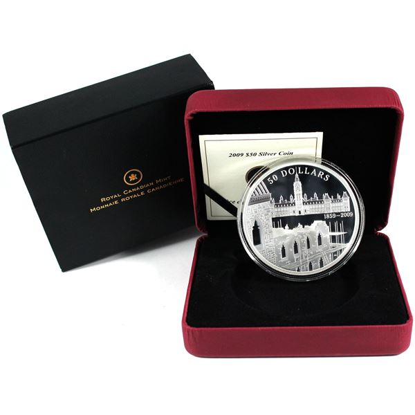 2009 Canada $50 150th Anniversary of the Construction of the Parliament Building 5oz Fine Silver Coi