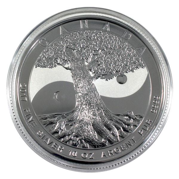 2017 Canada $50 Tree Of Life 10oz .9999 Fine Silver Coin in Capsule. (TAX Exempt)