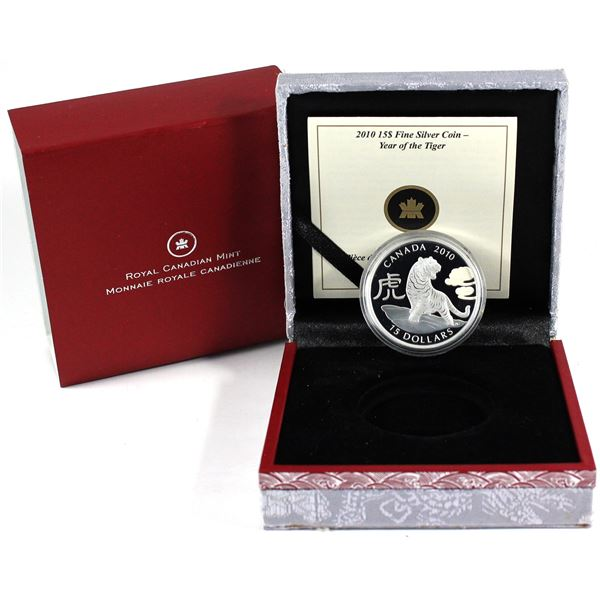 2010 Canada $15 Zodiac Year of the Tiger Fine Silver Coin. TAX Exempt