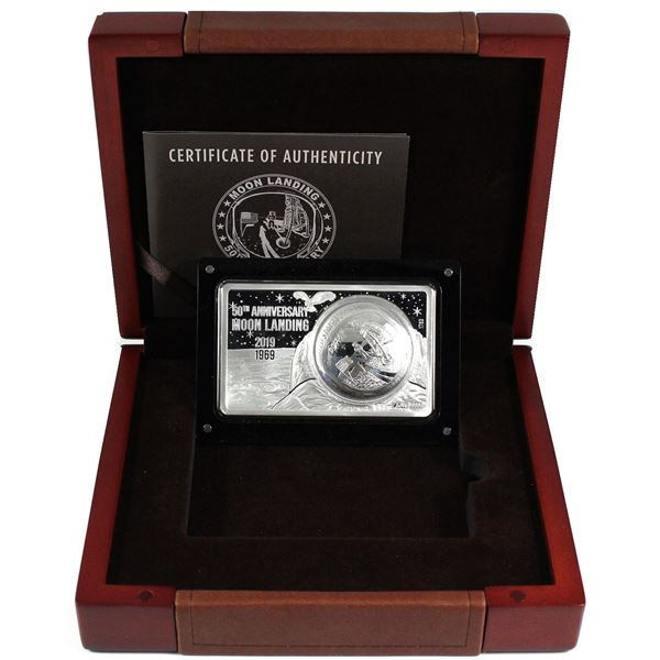 Most Famous Coin Bar Series - 2019 USA 50th Anniversary of the Moon Landing 1oz Coin Inside of 2oz B