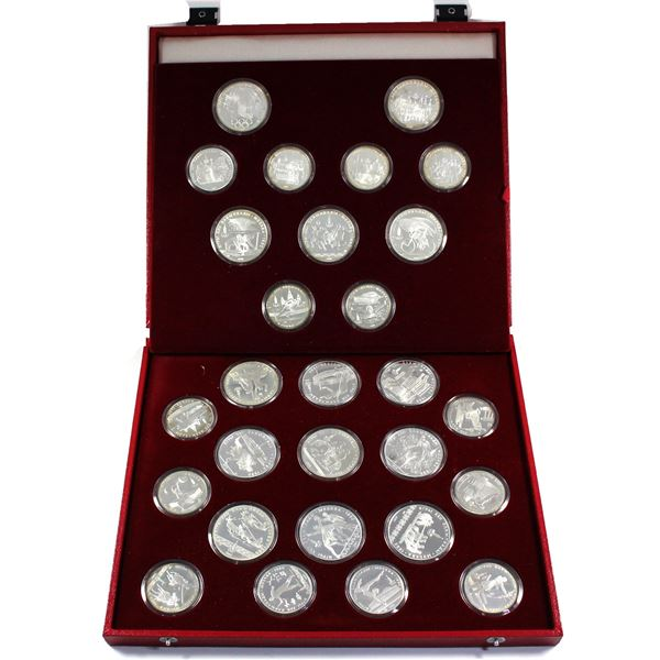1980 Russia Moscow Olympics Full 28-coin 14x 5 & 14x 10 Roubles Silver Set in Original Display Case