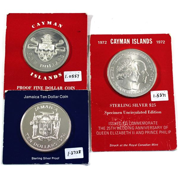 1972 Cayman Islands $25, 1974 Cayman Islands $5 & 1974 Jamaica $10 Sterling Silver Commemorative Coi