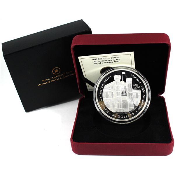 2008 Canada $50 Royal Canadian Mint Centennial Commemorative 5oz Fine Silver Coin. (TAX Exempt)