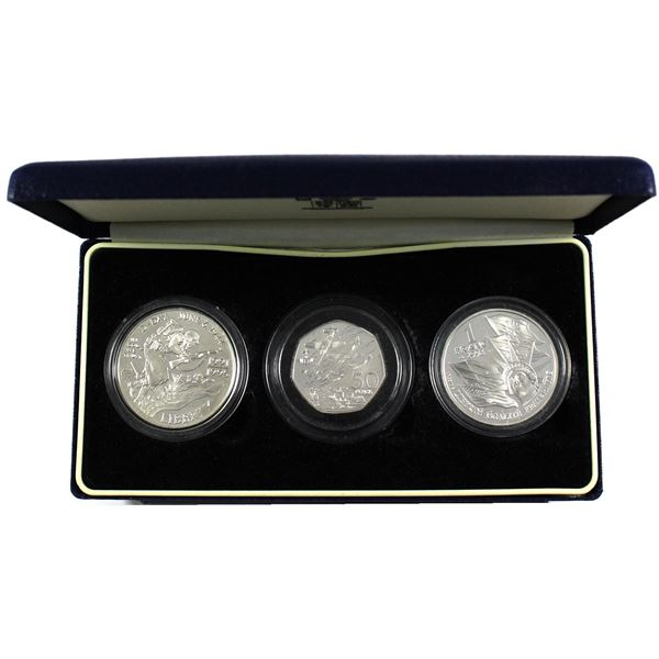 1994 Royal Mint 50th Anniversary of the Allied Invasion of Europe 3-Coin Silver Proof Collection. Se