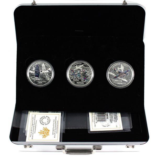 2017 Canada $20 Aircraft of WWII 3-coin Fine Silver Set Featuring Avro Anson, Consolidated Canso & H
