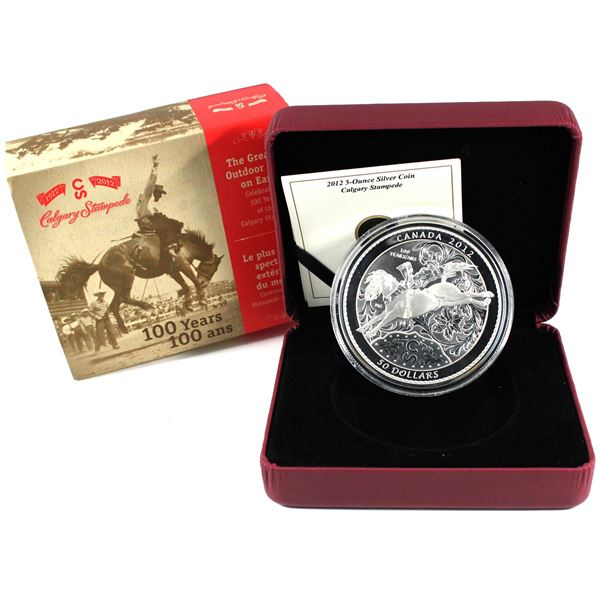 2012 Canada $50 100 Years of the Calgary Stampede 5oz Fine Silver Coin. TAX Exempt