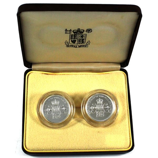 1989 Great Britain Tercentenary of the Bill of Rights and the Claim of Right 2-coin Sterling Silver