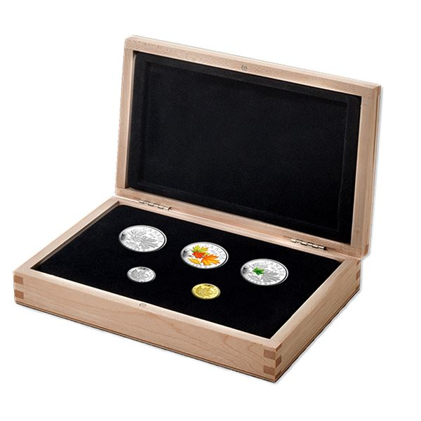 2014 Canada Majestic Maple Leaves 5-coin Silver, Gold & Platinum Set in Deluxe Display Box. This set