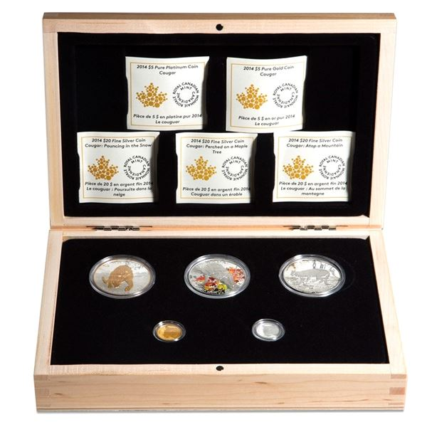 2014 Canada Cougar 5-coin Silver, Gold & Platinum Set in Deluxe Display Box. This set features Pounc