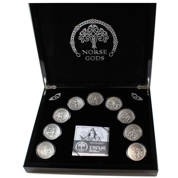 2015-2016 Cook Islands $10 Norse Gods 9-coin 2oz .999 Fine Silver Set in Antiqued Finish. You will r