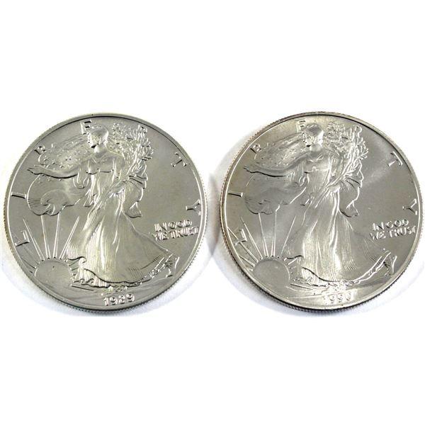 1989 & 1990 USA 1oz .999 Fine Silver Eagles. 2pcs (TAX Exempt)